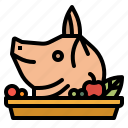 china, cultures, food, head, pig icon
