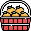 basket, chinese, chinese new year, culture, decoration, fruit, orange icon