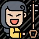 erhu, music, instrument, traditional, string