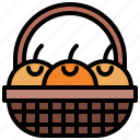 asian, basket, celebration, fruit, oranges icon