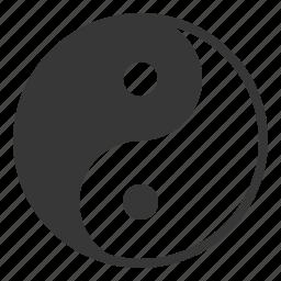chinese, cny, dark, new year, white, yin yang icon