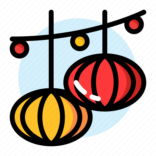 chinesse, circle, gold, lampion, new, red, year icon
