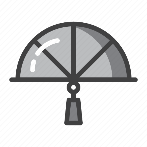 chinese, fan, grey, hand, held, new, year icon
