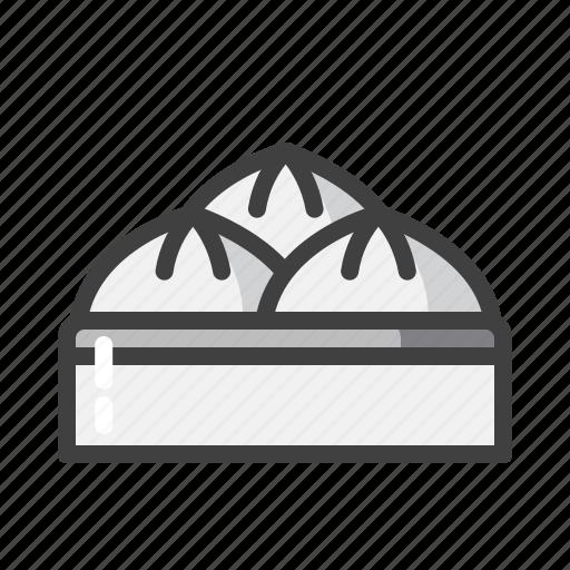 bakpao, chinese, grey, lampion, new, year icon