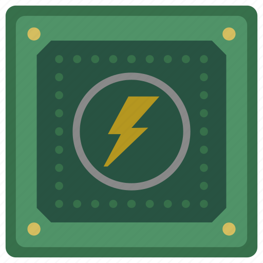 chipset, cpu, electric, processor, ship, shock icon