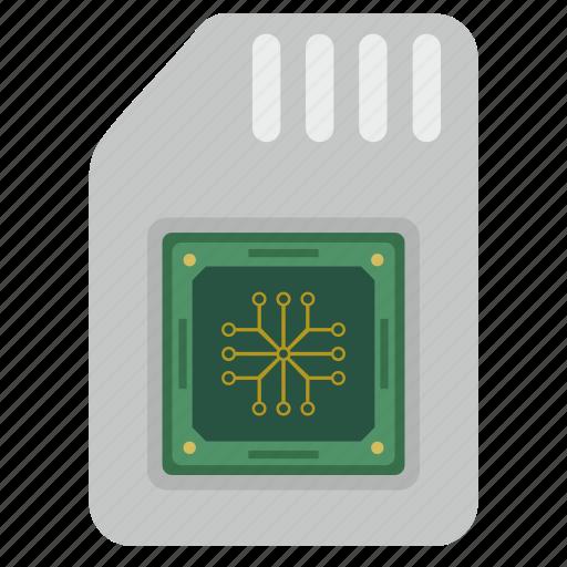 card, chip, cpu, memory, module, sim icon