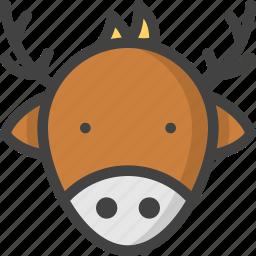 christmas, deer, rein, reindeer, winter icon
