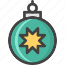ball, christmas, green, star, tree, winter icon
