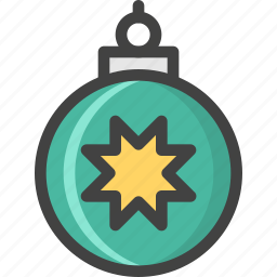 ball, christmas, green, holiday, star, tree, winter icon
