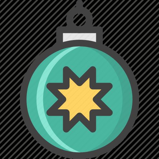 ball, christmas, green, star, tree, winter icon