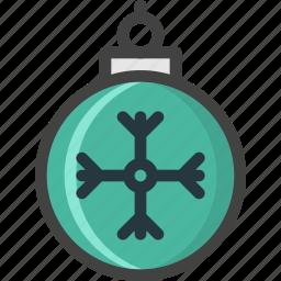 ball, christmas, decoration, flake, green, snow icon