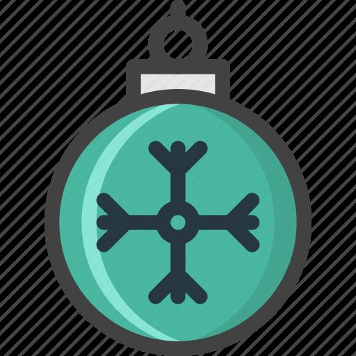 ball, celebration, christmas, decoration, flake, green, snow icon