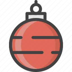 ball, christmas, decor, globe, red, tree, winter icon