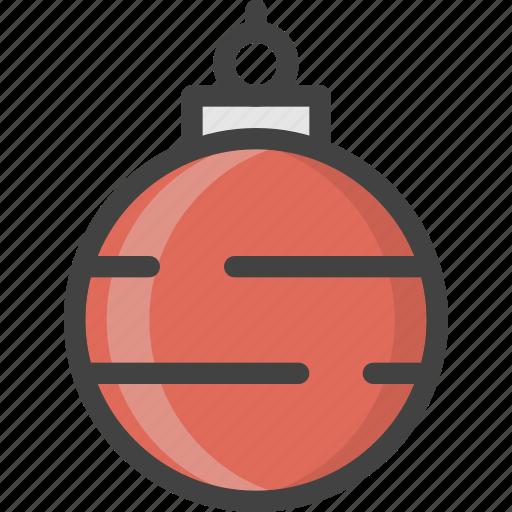 ball, christmas, decor, globe, red, tree, winter icon