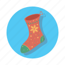 christmas, decoration, gift, snowflake, socks, xmas icon