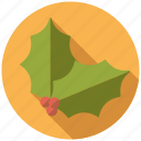christmas, decoration, holidays, holly, leaves, season, winter icon