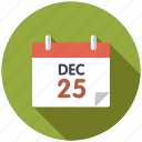 calendar, christmas, december 25, holidays, season, time, winter icon