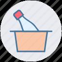 basket, bottle, cart, celebration, party, trolley icon