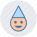cartoon face, character, christmas, christmas elf, elf, party hat icon