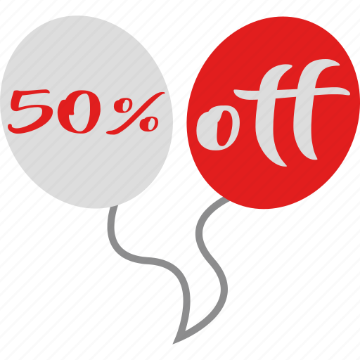 balloons, christmas, fifty percent, off, sale icon