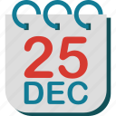 calendar, christmas, day, december, twenty five icon
