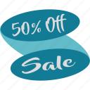 fifty, half, off, percent, sale, save, savings icon