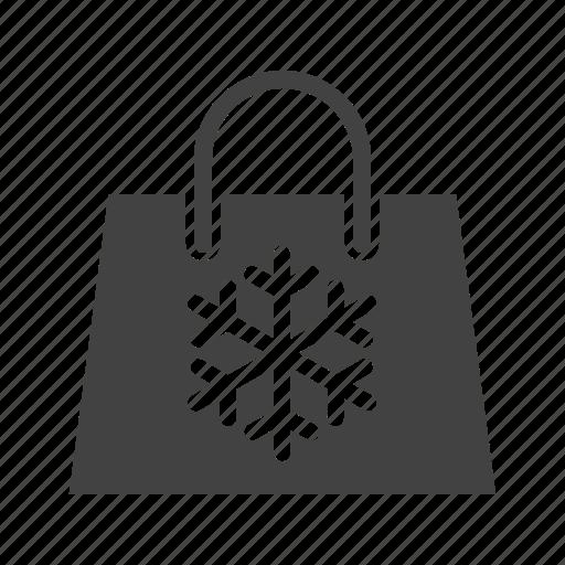 bag, cart, shopping, snowflake icon
