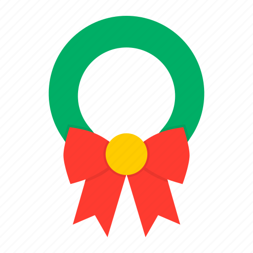 bow, christmas, decoration, leaf, new year, wreath, xmas icon