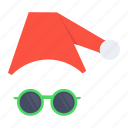 cap, christmas, claus, disguise, santa, spectcles, xmas icon