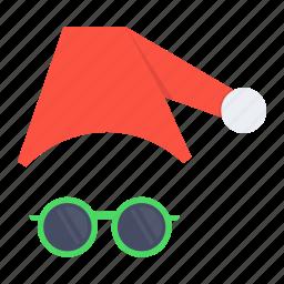 cap, christmas, claus, disguise, santa, spectcles, xmas icon