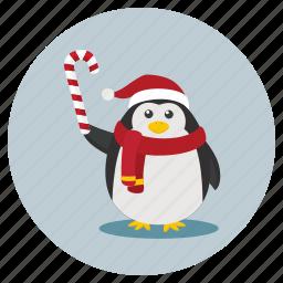 christmas, penguin, snowman icon