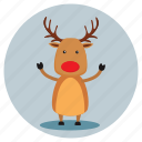 christmas, deer, reindeer, sanda icon