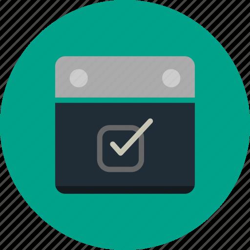 agenda, calendar, checkbox, event icon