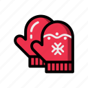 christmas, gloves, mittens, new, year icon