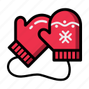 christmas, gloves, mittens, new, xmas, year icon