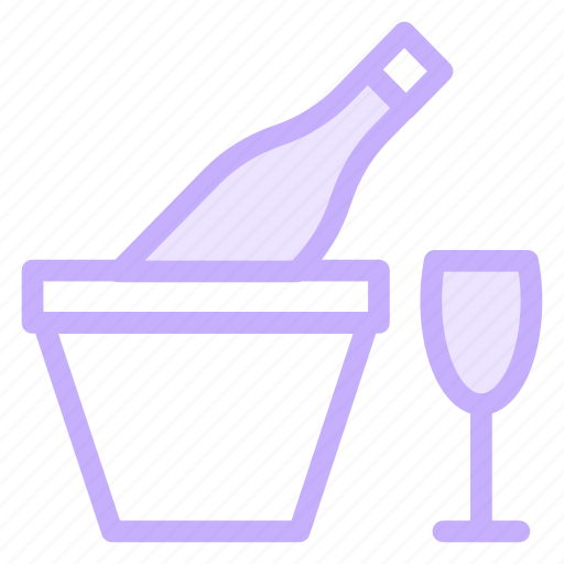 Glass, drink, bottle, ice, wine icon