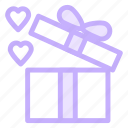 box, gift, heart, loving, present icon