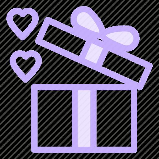 box, gift, heart, loving, present icon