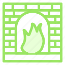 bake, cook, fire, oven, stone icon