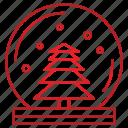 christmas, decor, decoration, snow, snowglobe, tree icon