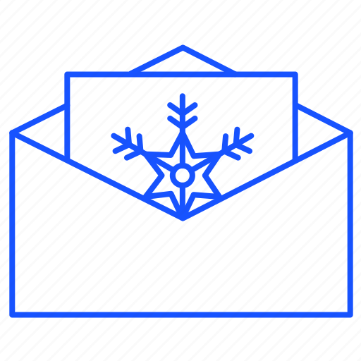 christmas, email, holiday, message, snowflake icon