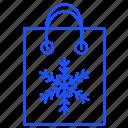 bag, cart, christmas, shopping, snowflake icon