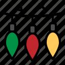 bulb, christmas, colored, light, ornament icon