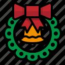 christmas, green, ornament, wreath, xmas icon