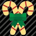candy, cane, christmas, dessert, ribbon icon