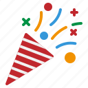 brightly, celebration, colored, confetti, party icon