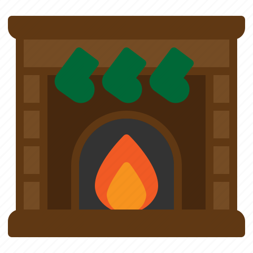 chimney, christmas, cozy, fireplace, socks icon
