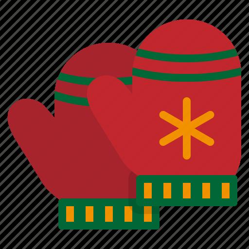 christmas, glove, mitten, snow, winter icon