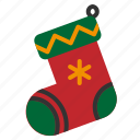 christmas, santa, sock, winter, xmas icon