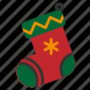 christmas, santa, sock, winter, xmas